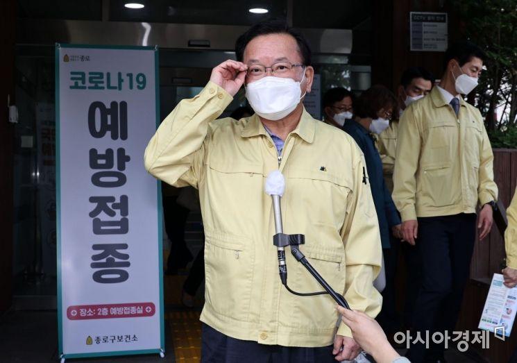 [포토]백신 맞은 소감 발표하는 김부겸 총리