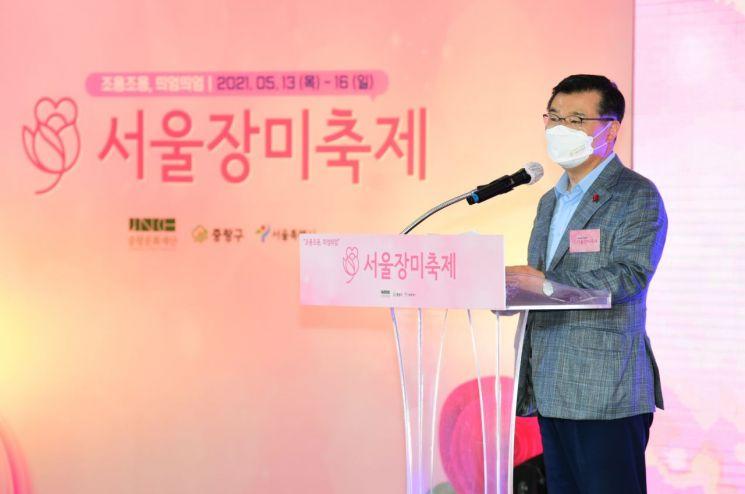 로즈라이트 켜며 '2021 서울장미축제' 시작