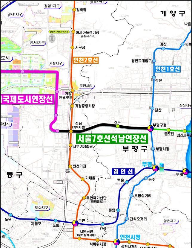 서울 도시철도 7호선 석남연장 사업 노선도.