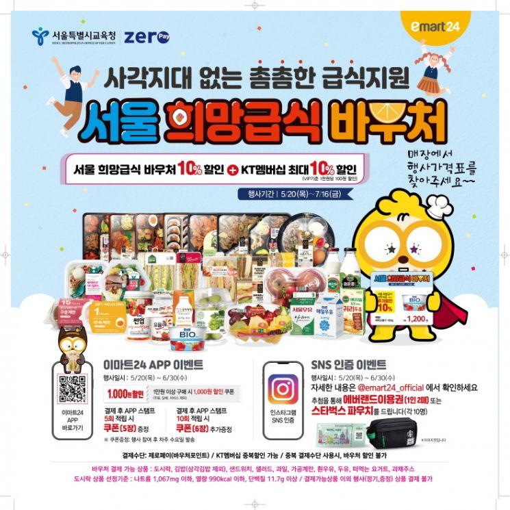 이마트24가 추가 할인 쿠폰과 사회관계망서비스(SNS) 이벤트를 통해 '희망급식 바우처' 고객 잡기에 나선다.