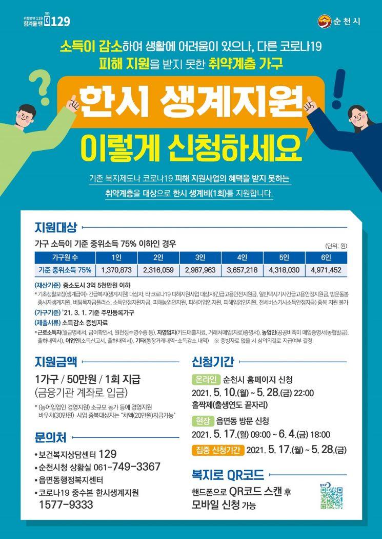 순천시, 위기가구 '한시 생계지원' 온라인·현장 병행 접수