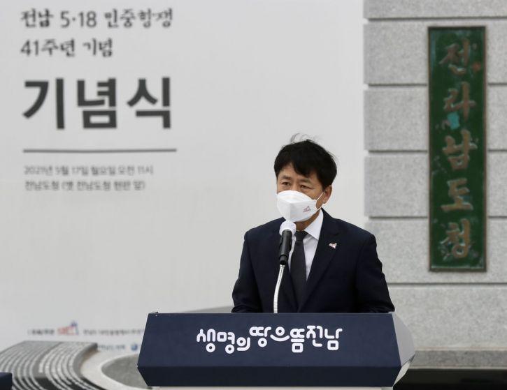 장석웅 교육감은 18일 5·18민주화운동 41주년 기념식에 참석해 희생자를 추모했다. 사진=전남도교육청 제공