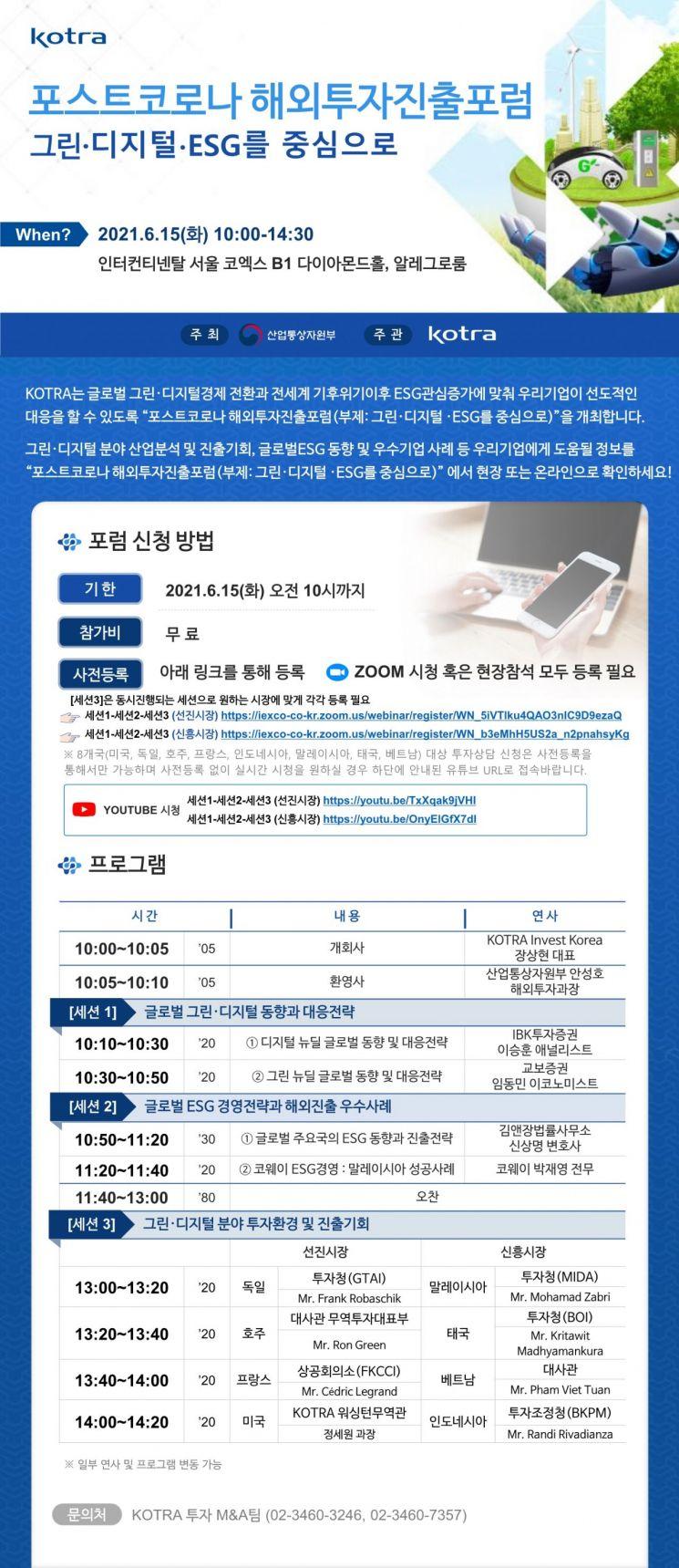"""KOTRA, '포스트 코로나 해외 투자진출 포럼' 개최…""""그린·디지털·ESG 초점"""""""