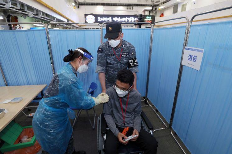 도서지역 백신 접종 모의훈련(사진제공=국방일보)