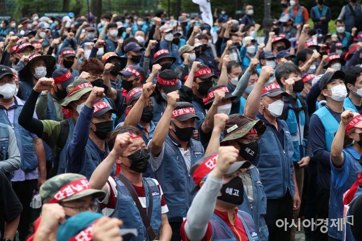 [포토]성난 택배 노동자들, 1박2일 여의도 집회