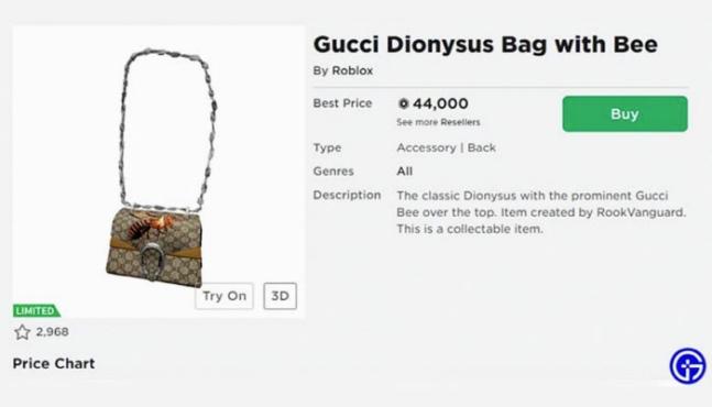 구찌의 디오니소스 백은 오직 가상세계에만 있는 가방으로 현실세계에서 착용할 수도, 만질 수조차 없다. 사진=로블록스