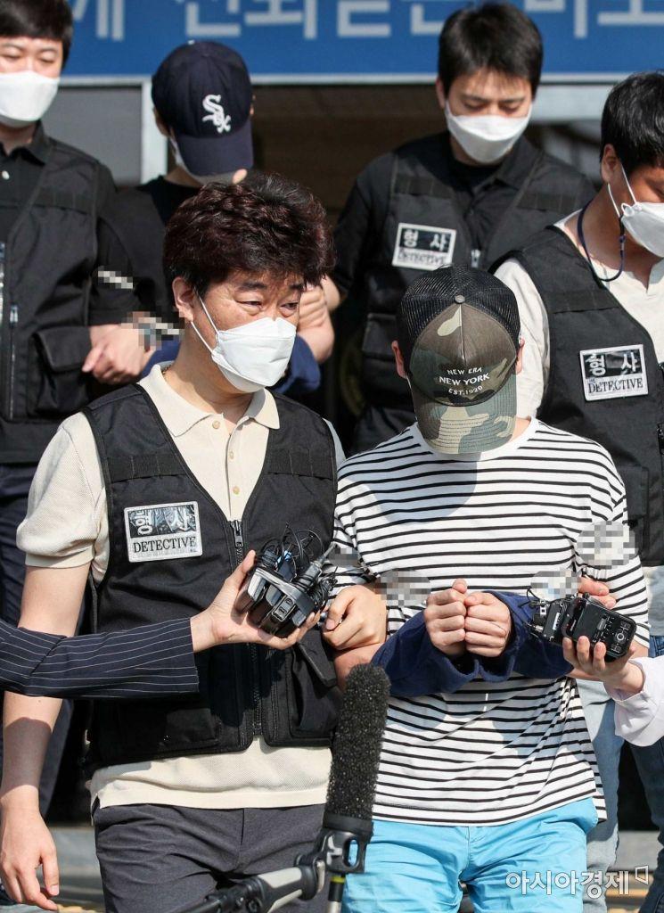 [포토]'마포 오피스텔 감금 살인' 피의자 2명 검찰 구속 송치