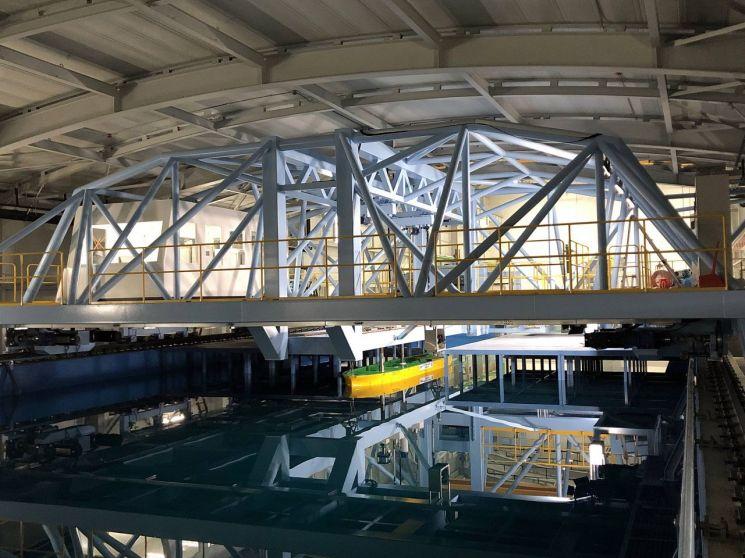 대우조선해양 시흥R&D 캠퍼스에 있는 예인수조. 실제 선박과 같은 모양으로 축소 제작한 모형선을 활용해 바다에서 선박저항·추진·운동 등 실험을 한다. 사진제공=대우조선해양
