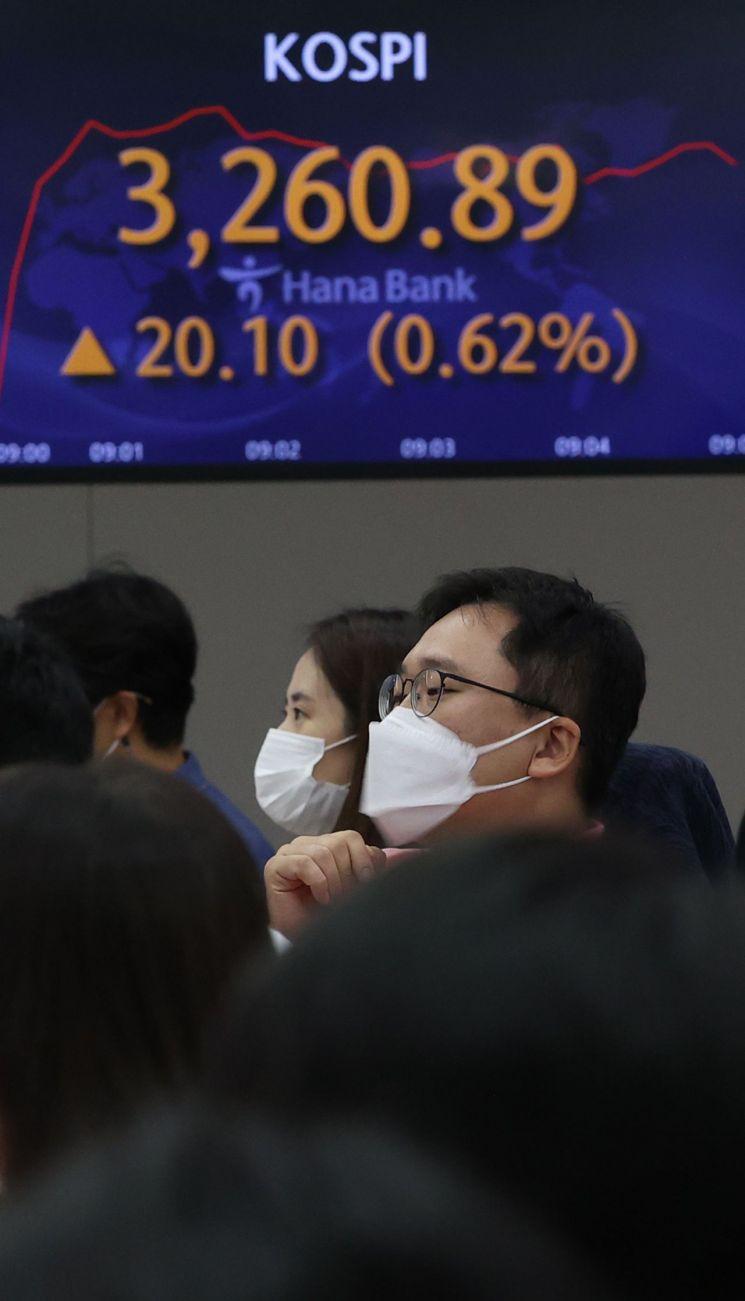 22일 오전 서울 중구 하나은행 본점 딜링룸에서 직원들이 업무를 보고 있다. [이미지출처=연합뉴스]