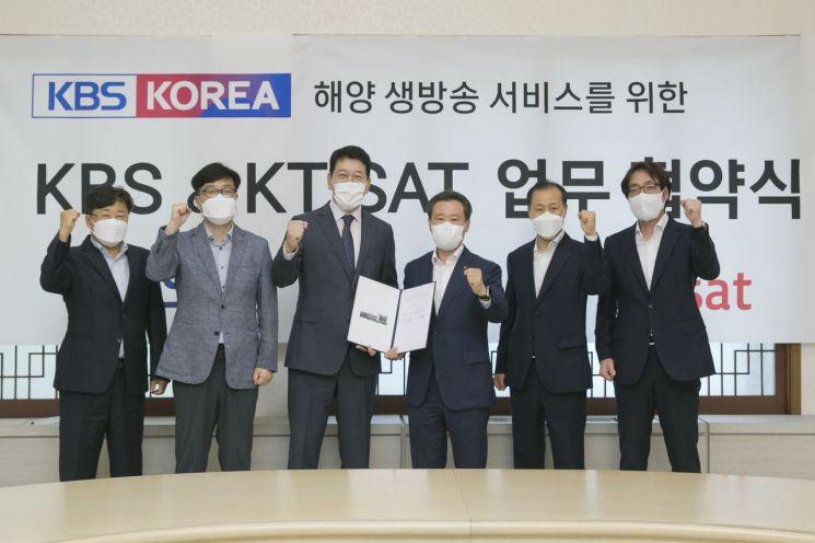 송경민 KT SAT 대표(오른쪽 세번째)와 한창록 KBS 편성본부장(왼쪽 세번째)이 24일 해양 라이브 방송 서비스 출시를 위한 업무협약을 체결했다.