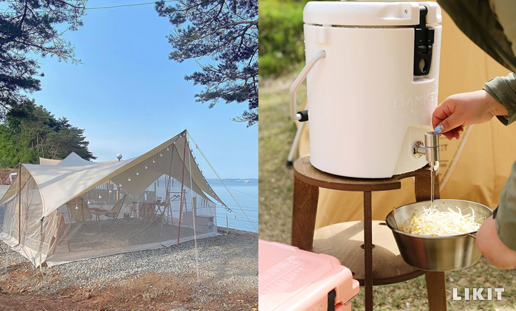 캠핑 그늘막 타프와 캠핑 물통 워터저그. ⓒ인스타그램 @gari_camping, @twora_camp