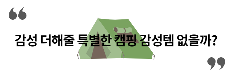 캠핑에 감성 입히는 MZ 세대! 슬기로운 캠핑 생활