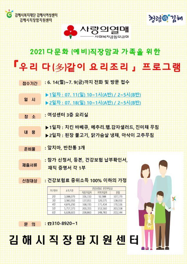 김해시여성센터, 다문화 가족을 위한 '우리 다같이 요리조리' 프로그램 운영