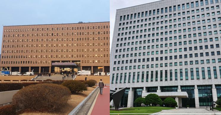 정부과천청사 1동 법무부(왼쪽)와 서울 서초동 대검찰청./최석진 기자