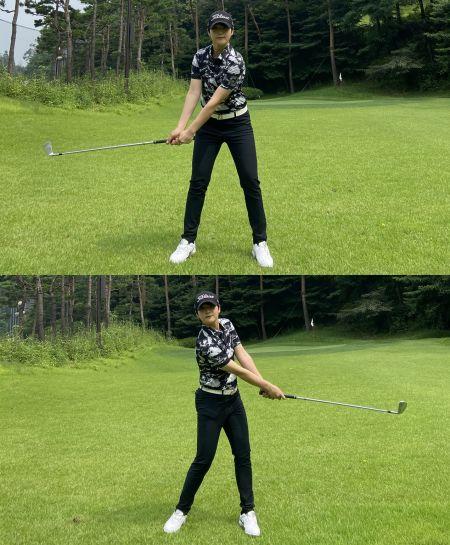 <사진1> 테이크 어웨이는 어깨를 오른쪽으로 열어주는 느낌(위)으로 시작하고, 왼쪽으로 회전할 때는 중심 축을 견고하게 유지하는 게(아래) 중요하다.
