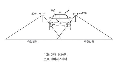 노면 프로파일 데이터 생성 장치가 탑재된 차량의 정면도 (출처: 국방과학연구소)