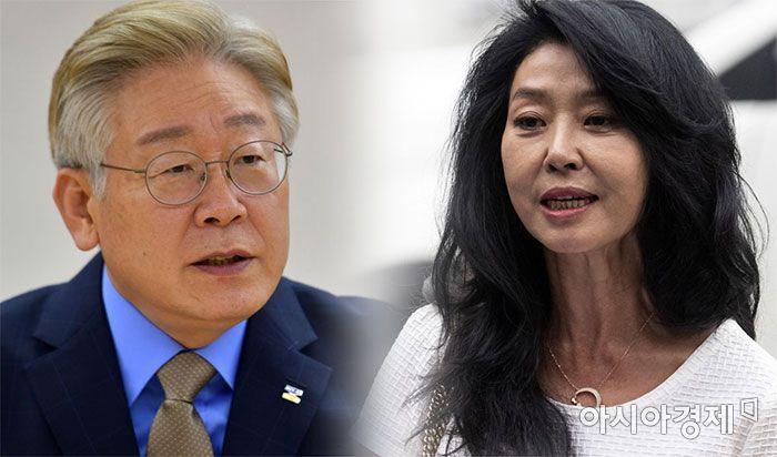 이재명 경기지사(좌)와 배우 김부선 씨(우)