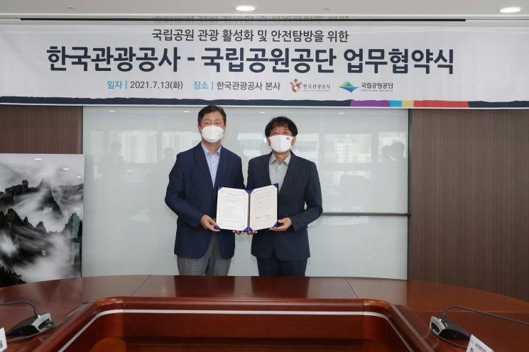 송형근 국립공원공단 이사장과 안영배 한국관광공사 사장(오른쪽).