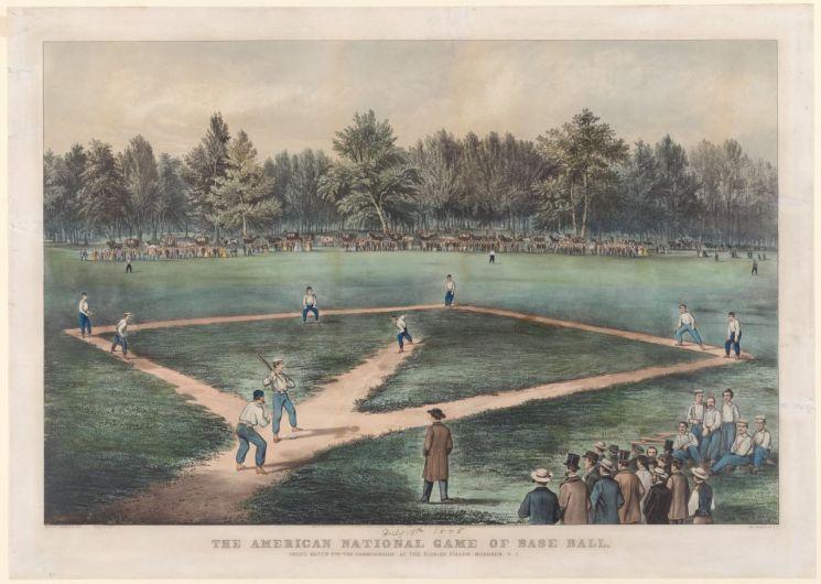 디 아메리칸 내셔널 게임 오브 베이스볼: 뉴저지 호보큰 엘리시안 필즈에서 열린 챔피언십 그랜드 매치(커리어 & 아이브스 발행, 1866)