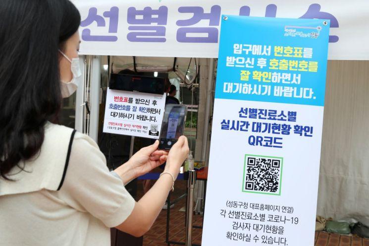 성동구는 지난 7월 전국 최초로 급증하는 코로나19  검사자를 위해 실시간 안내시스템을 도입했다.