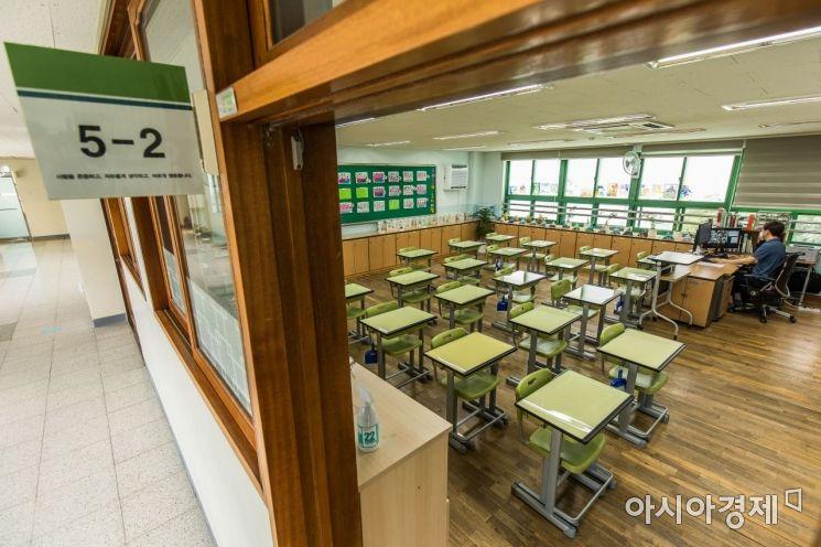 사회적 거리두기 4단계 적용에 따라 서울 학교들이 원격수업으로 전환된 가운데 14일 오전 서울 성동구 무학초등학교 5학년 교실에서 선생님이 온라인 수업을 진행하고 있다. 2021.07.14.