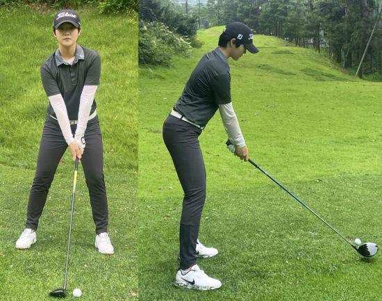 드라이브 샷에서 공은 왼쪽 발 안쪽 라인(왼쪽), 드라이버 헤드 위로 절반 정도 올라오게 꽂는다(오른쪽).