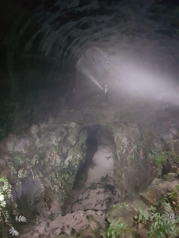 제주 '거문오름 용암동굴계'에 위치한 김녕굴 입구. 다른 동굴과 달리 인근 바다에서 불어온 모래입자가 쌓여있다.