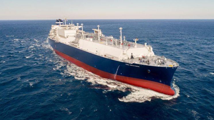 현대중공업이 건조한 17만 4000 입방미터급 LNG운반선의 시운전 모습.(제공=한국조선해양) [이미지출처=연합뉴스]