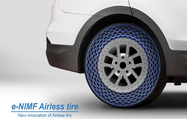 금호타이어 중앙연구소는 최근 미래 모빌리티에 쓰일 공기압 없는 타이어 'e-NIMF'를 개발해 상용화를 앞두고 있다.  사진제공=금호타이어  사진제공=금호타이어