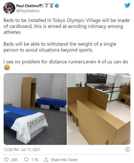 재활용 가능한 골판지로 만든 선수촌 침대 / 사진=트위터 캡처