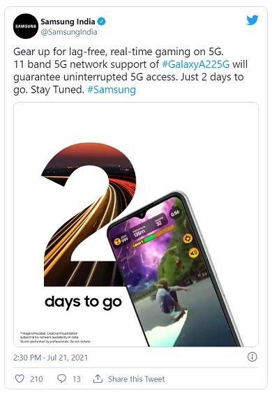인도 공략 강화하는 삼성… '5G 최저가' 갤럭시A22 5G 내일 출시