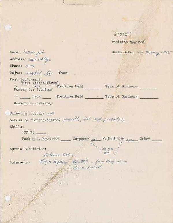 스티브 잡스가 지난 1973년 작성한 구직 신청서 /사진=RR옥션