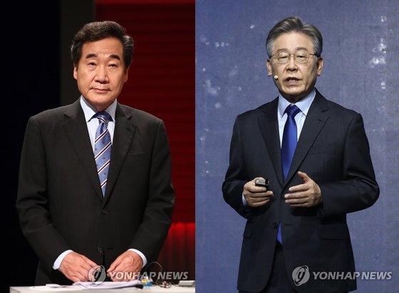 여권 대선주자인 이낙연 전 더불어민주당 대표(왼쪽)와 이재명 경기지사./사진=연합뉴스