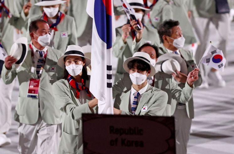 23일 일본 도쿄 신주쿠 국립경기장에서 열린 2020 도쿄올림픽 개막시에서 한국 선수단이 입장하고 있다. [이미지출처=연합뉴스]
