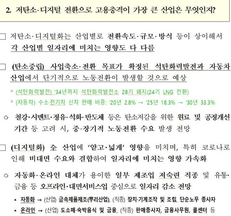 정부가 지난 22일 발표한 '산업구조 변화에 대응한 공정한 노동전환 지원방안' 대책. 어디에도 전직률 목표치가 제시돼 있지 않다.(자료=고용노동부 등 관계부처)