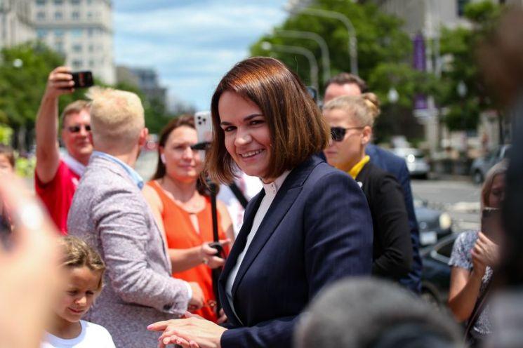 벨라루스 야권 지도자 스베틀라나 티하놉스카야(사진출처:WSJ)