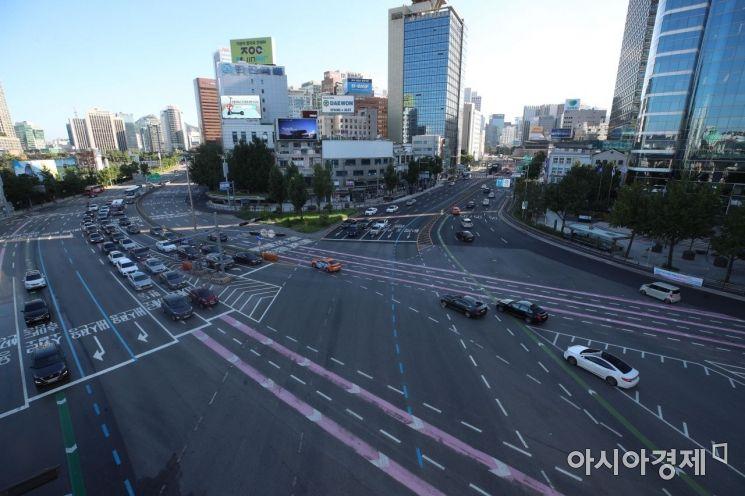 [포토] 비교적 한산한 도심 도로