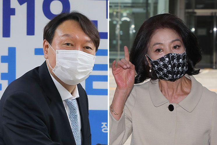 윤석열 전 검찰총장, 배우 김부선 [이미지출처=연합뉴스]
