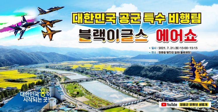 오는 31일 오후 3시부터 15분간 장흥읍 탐진강(물 축제장) 인근 상공에서 블랙이글스 에어쇼가 펼쳐진다. (사진=장흥군 제공)