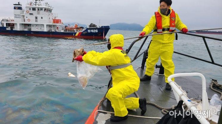 해상 유출기름 감식 전문가들이 시료를 채취하고 있다. [사진 제공=해양경찰청]