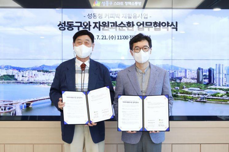 정원오 성동구청장(오른쪽)이 지난 21일 업무협약에 참여한 '자원과 순환' 대표와 기념사진을 찍었다.