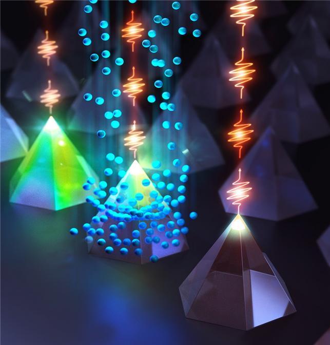 집속 이온빔을 이용한 소광기법을 육각 피라미드 꼭짓점 구조 위에 형성된 양자점에 적용한 예시 모식도
