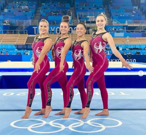 지난 25일 열린 도쿄올림픽 여자 체조 예선 경기에 독일 여자 대표팀이 유니타드(unitard) 유니폼을 입고 나왔다. [사진=인스타그램 캡처]