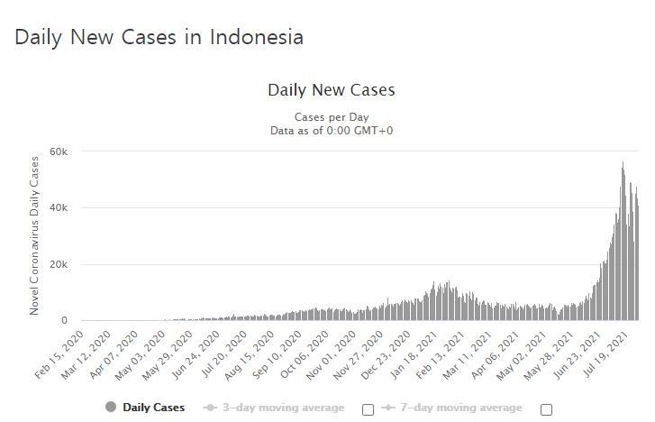 인도네시아의 코로나19 일일 신규 확진자 수 발생 추이. [사진=월드오미터 홈페이지 캡처]