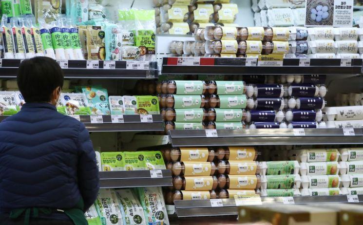 서울 시내 한 대형마트 달걀 판매대에서 한 시민이 장을 보고 있다. 사진은 기사 중 특정 표현과 무관. [이미지출처=연합뉴스]