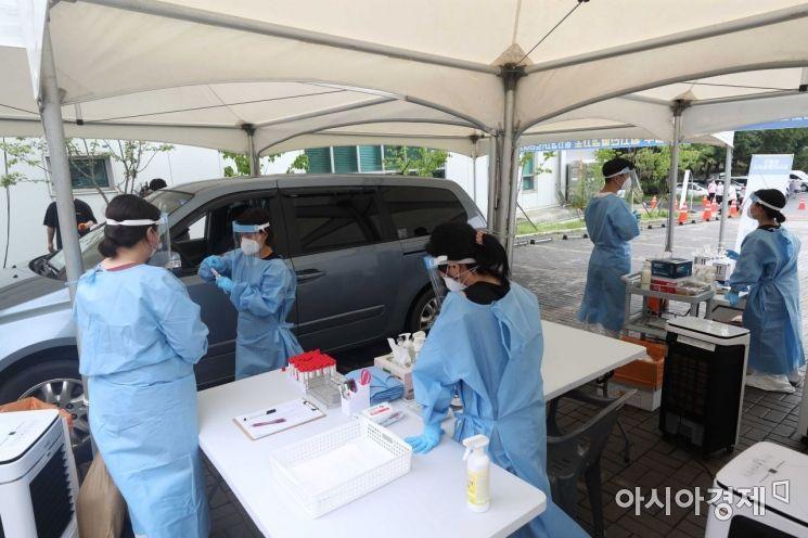 [포토]서울혁신파크에 마련된 드라이브스루 검사소