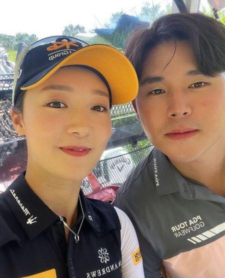 '제주삼다수마스터스 챔프' 오지현(왼쪽)와 PGA투어 멤버 김시우. 인스타그램 캡처