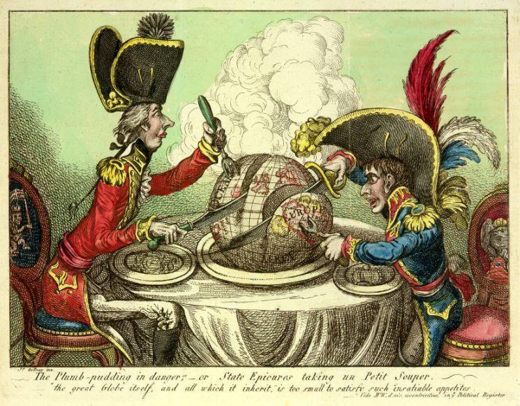 1805년, 영국의 정치풍자 만화가 제임스 길레이가 그린 나폴레옹 풍자화. 당시 영국의 윌리엄 피트 수상(왼쪽)과 나폴레옹 보나파르트(오른쪽)가 지구를 양분하는 모습을 그렸다.[이미지출처= 미 워싱턴대 디지털도서관]