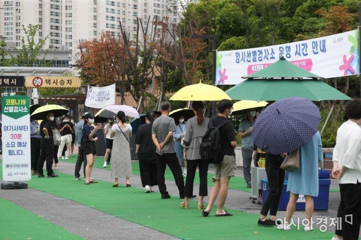 2일 서울 서초구 고속버스터미널 코로나19 임시 선별검사소에서 시민들이 검사를 위해 기다리고 있다. /문호남 기자 munonam@