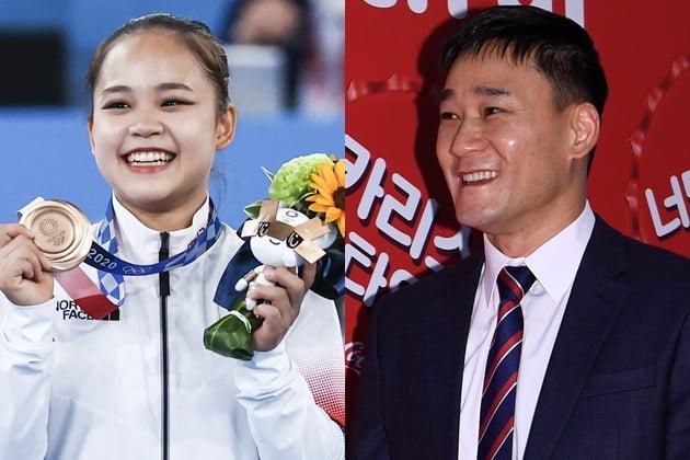 여서정 선수(왼쪽)와 여홍철 해설위원./사진=연합뉴스